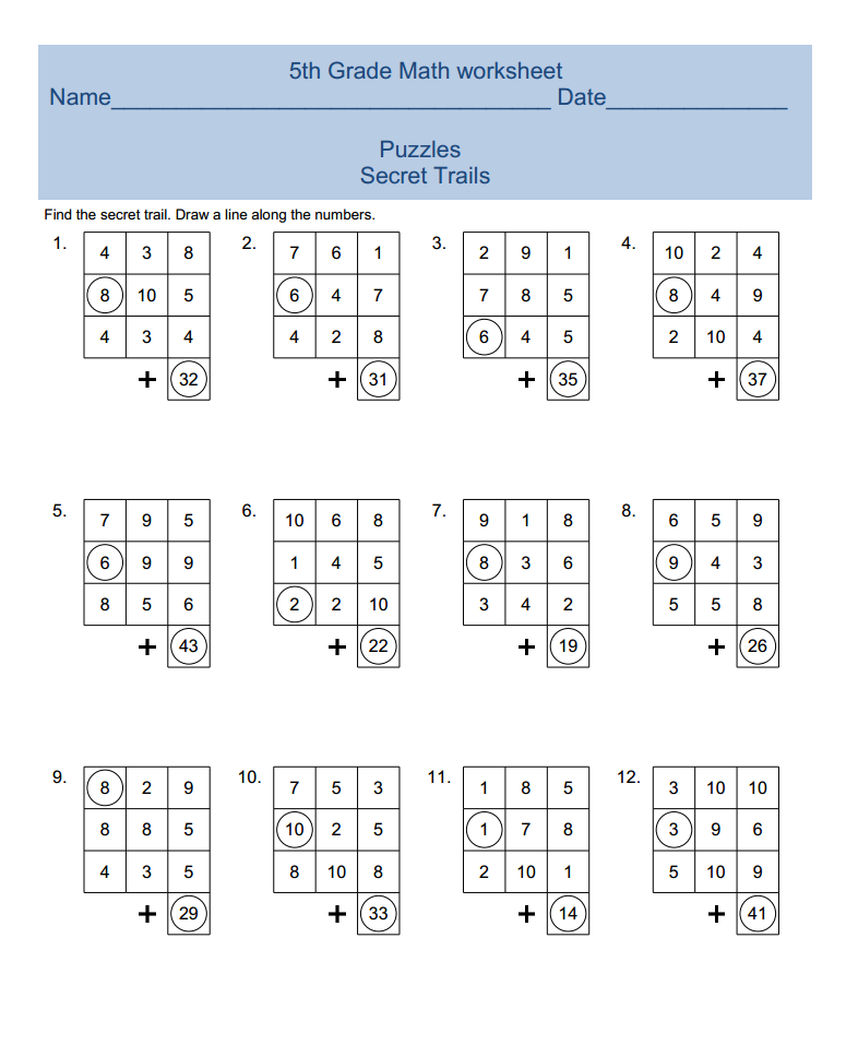 5th grade math worksheet categories 5th grade math fifth grade math ...