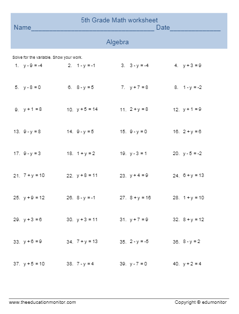 5th Graders Algebra Worksheets And Printables And More