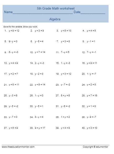 Free math worksheets for 5th grade algebra