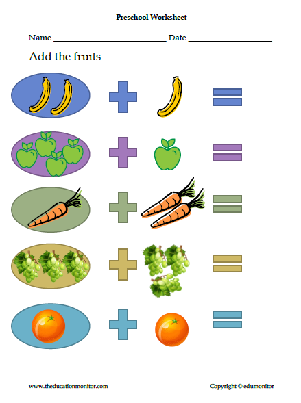preschool math worksheet simple addition facts more. Black Bedroom Furniture Sets. Home Design Ideas
