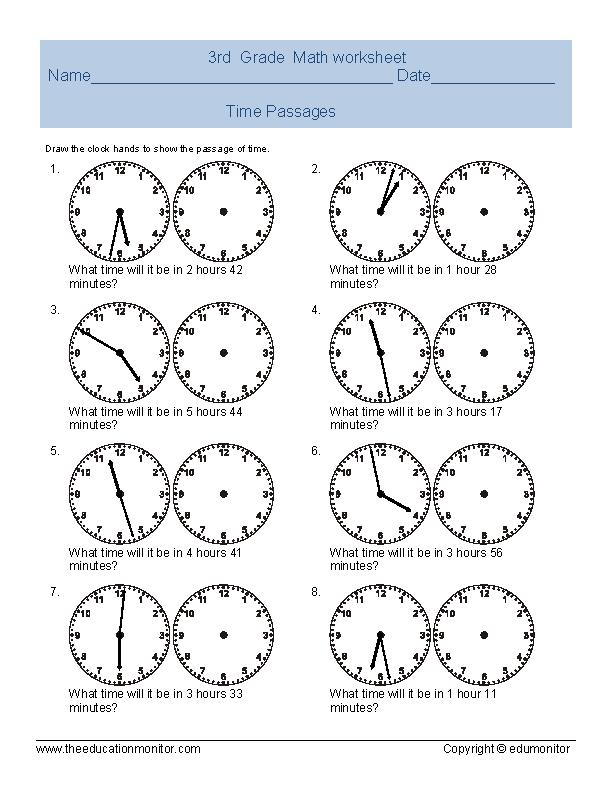 Time Worksheets For 3rd Grade : Telling time worksheet for third grade archives edumonitor