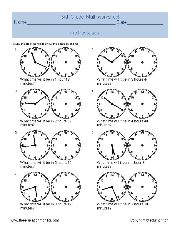 Third grade telling time worksheets – 3rd Grade Time Worksheets