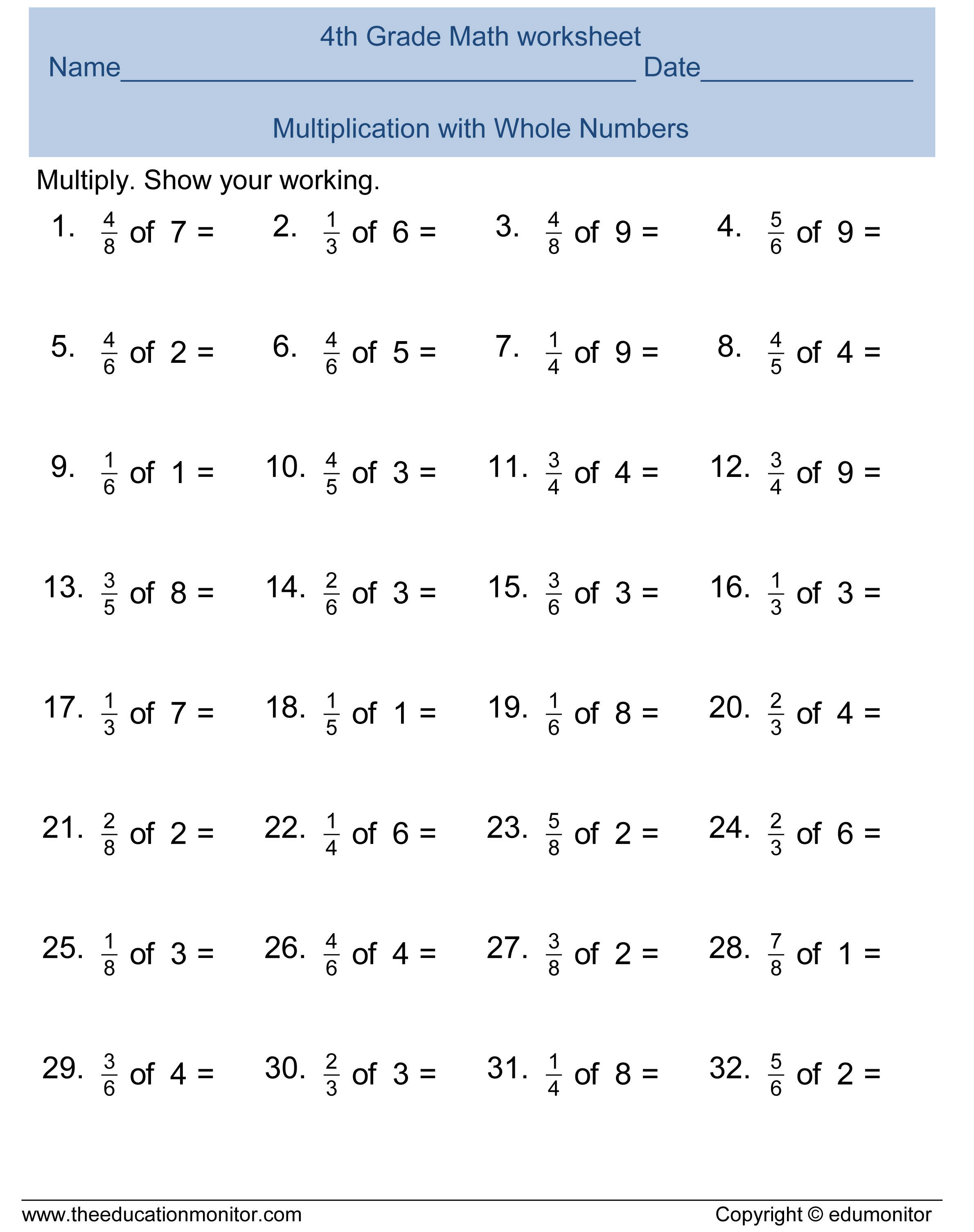 Worksheet 17002200 Fractions for Year 5 Worksheets Fractions – Multiply Fraction Worksheet