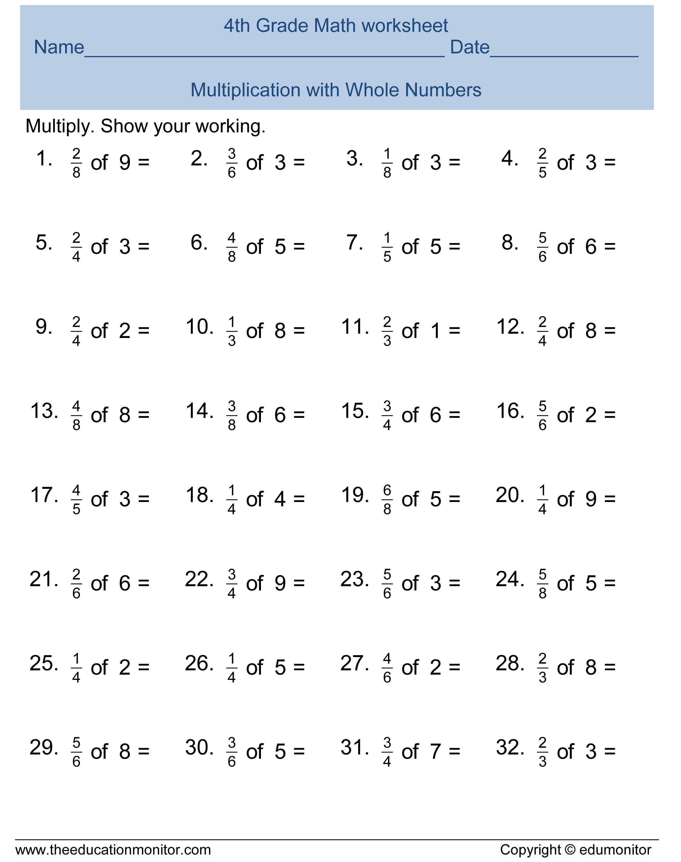 Free 4th Grade Fractions Math Worksheets