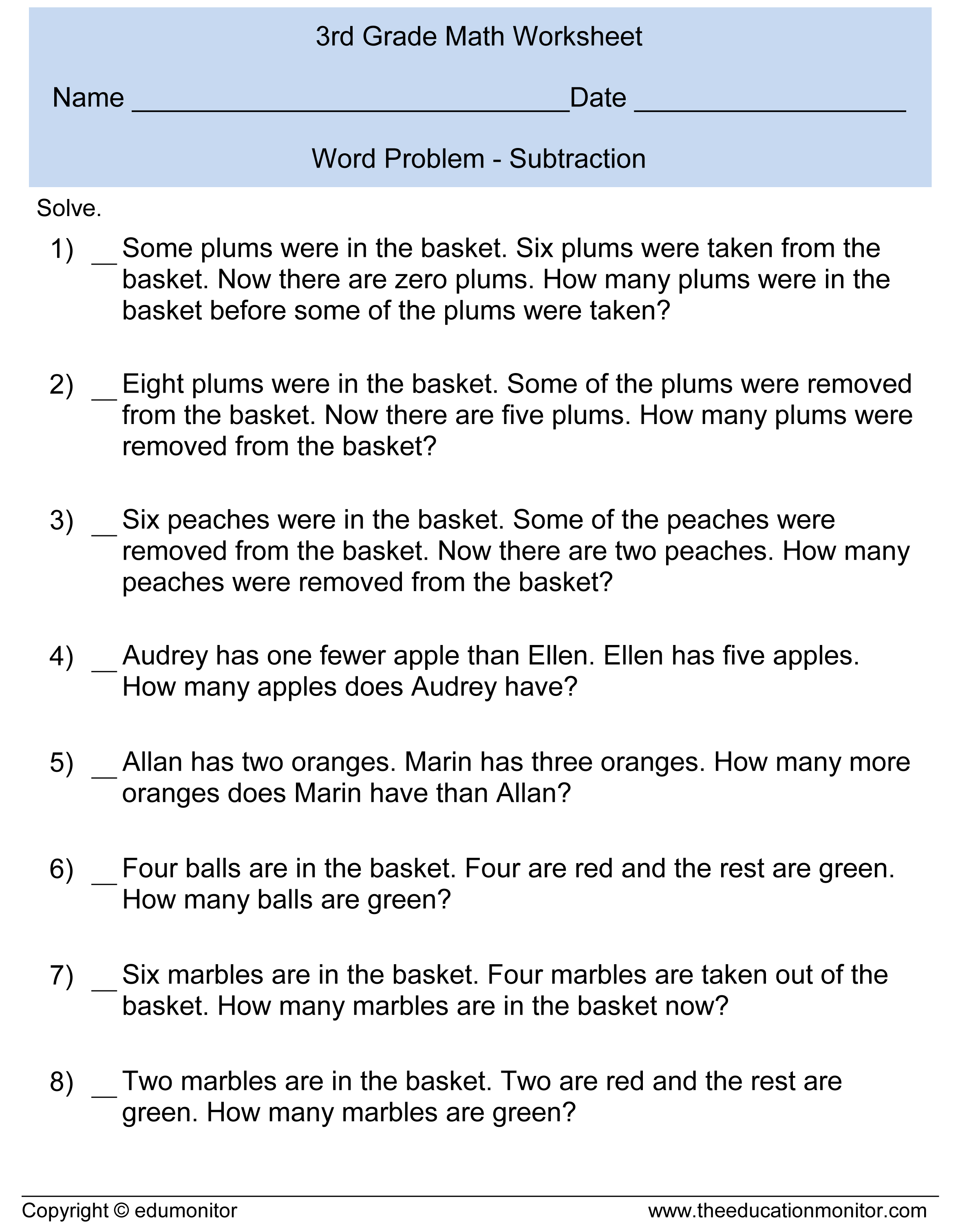 Worksheet Subtraction Word Problems 3rd Grade third grade subtraction word problems3rd math document