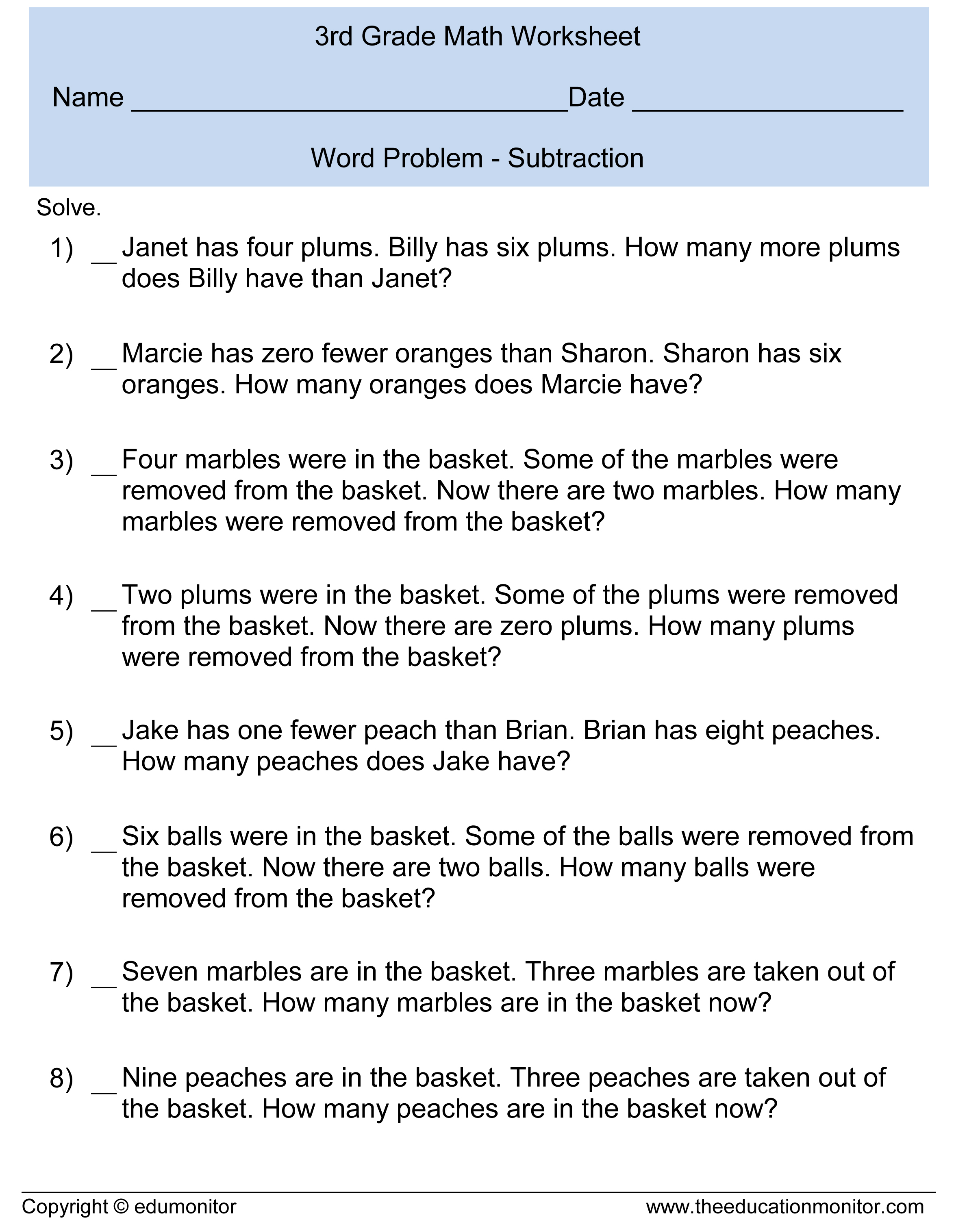 Worksheet Word Problems For Subtraction subtraction word problems 3rd grade for your kids problem 3 document