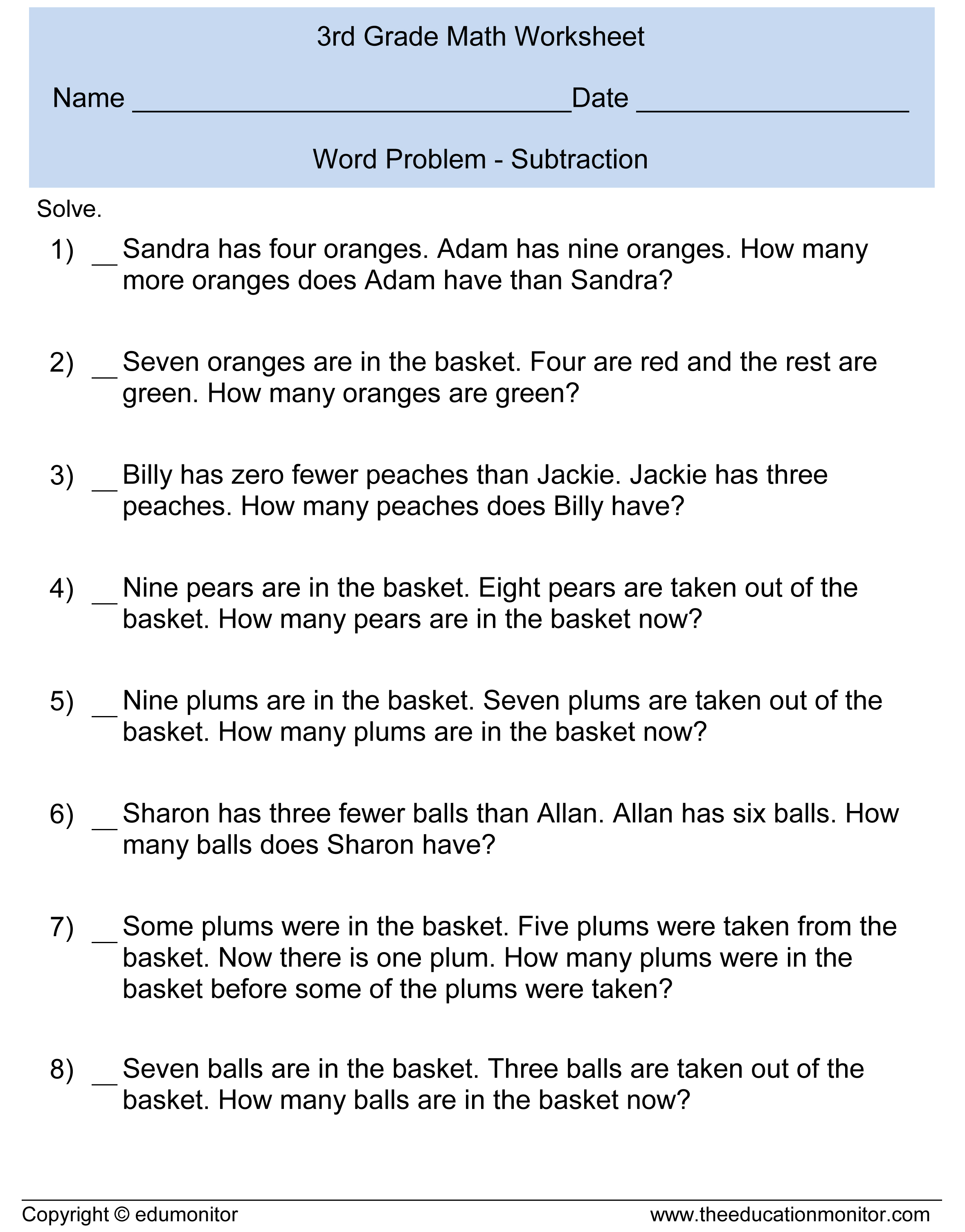 Worksheet Word Problems For Subtraction subtraction word problems for kids document