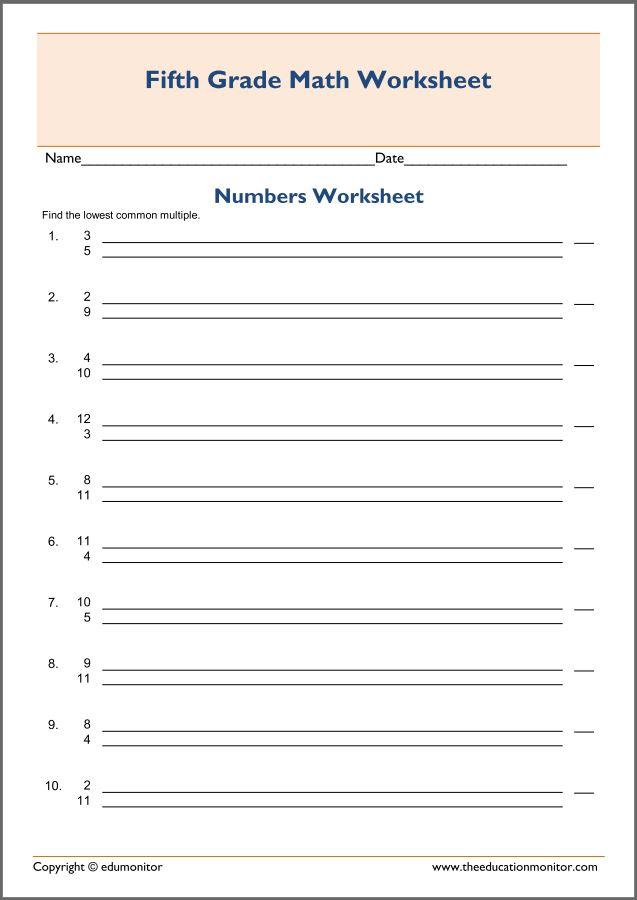 Lowest common denominator worksheets free