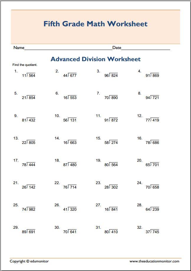 5th grade advanced division math categories 5th grade 5th grade ...