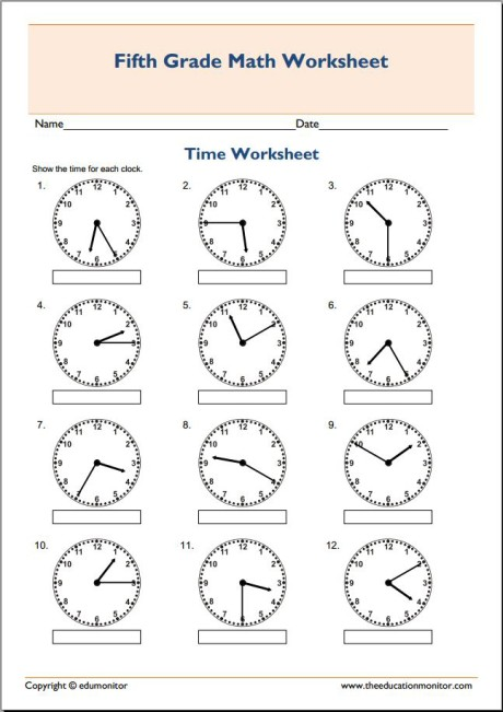 5th grade math worksheets: Telling time
