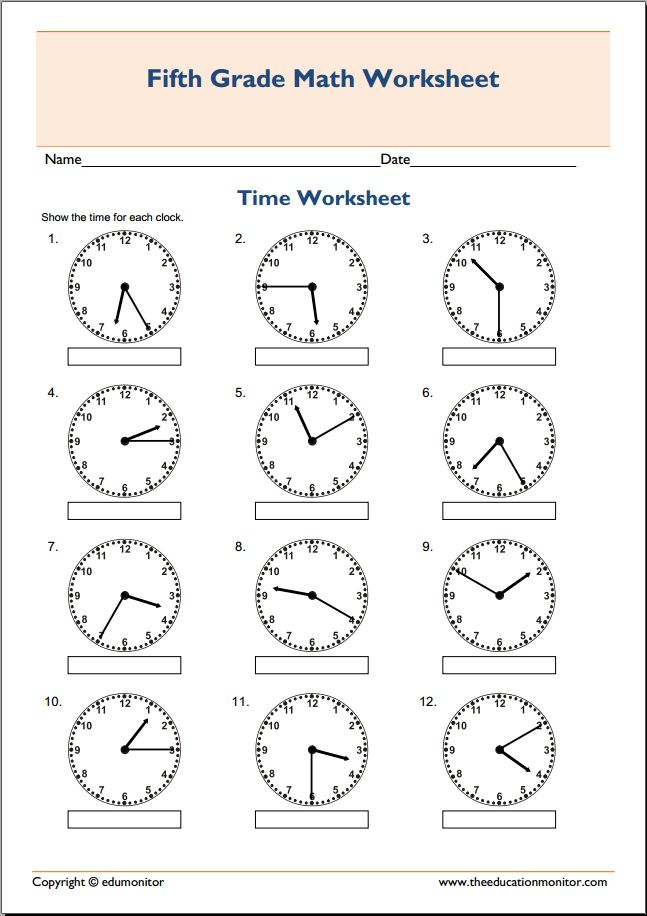 Worksheets Worksheets 5th Grade 5th grade math worksheets telling time archives edumonitor time