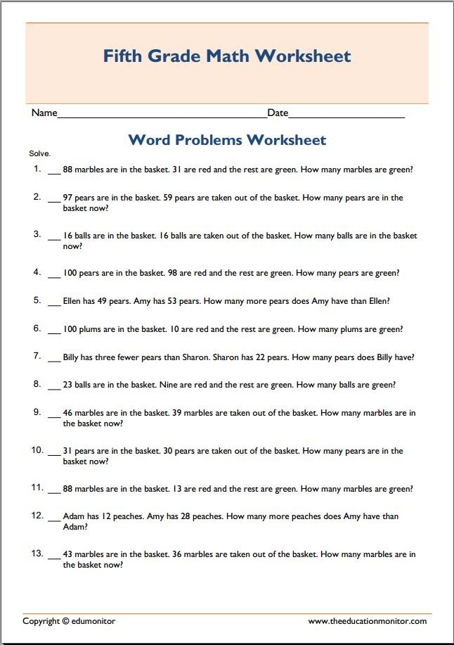Collections of Grade 1 Subtraction Word Problems Worksheet ...