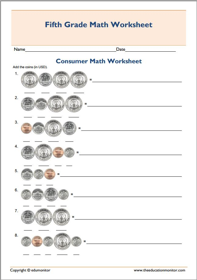 Printables Consumer Math Worksheets consumer mathematics project activities 5th grade math test worksheet