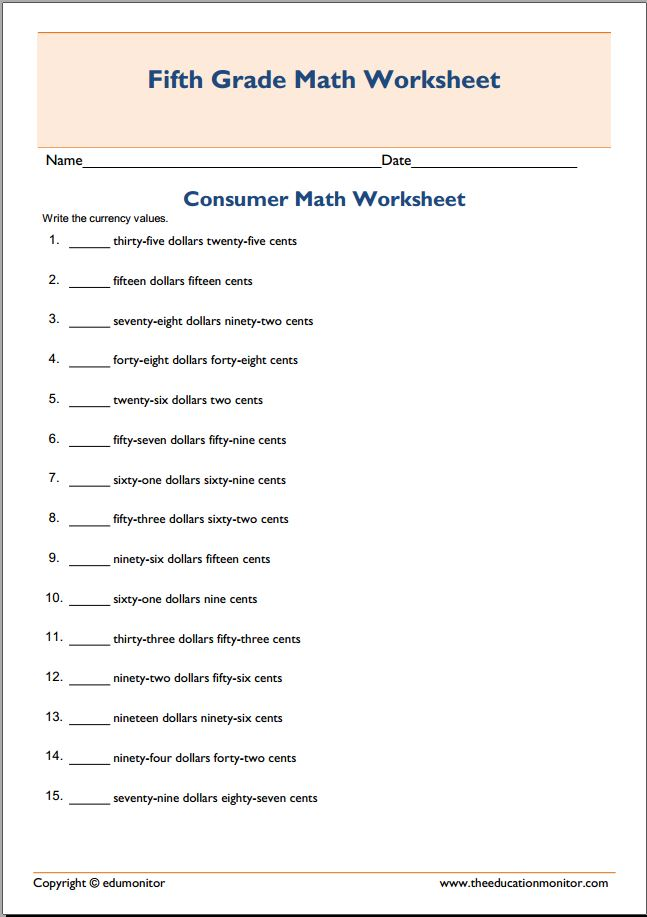 math worksheet : free consumer math worksheets middle school  worksheets for education : Consumer Math Worksheets
