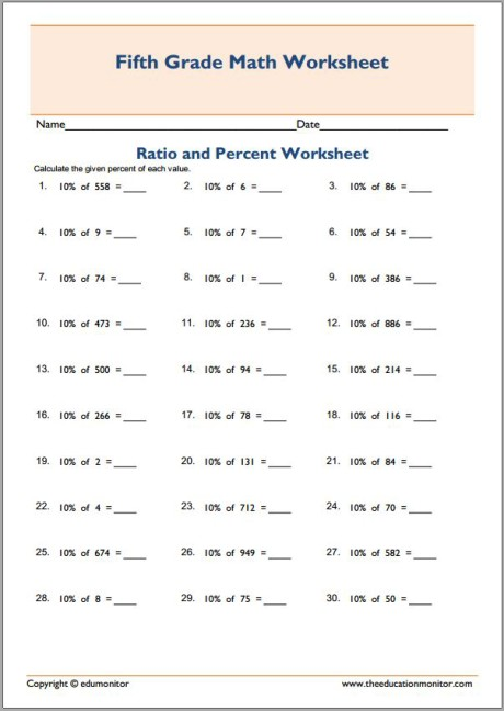 Math Ratio and percentages worksheets - EduMonitor
