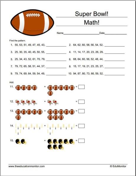 Fun Printable Super Bowl Math Activities - EduMonitor