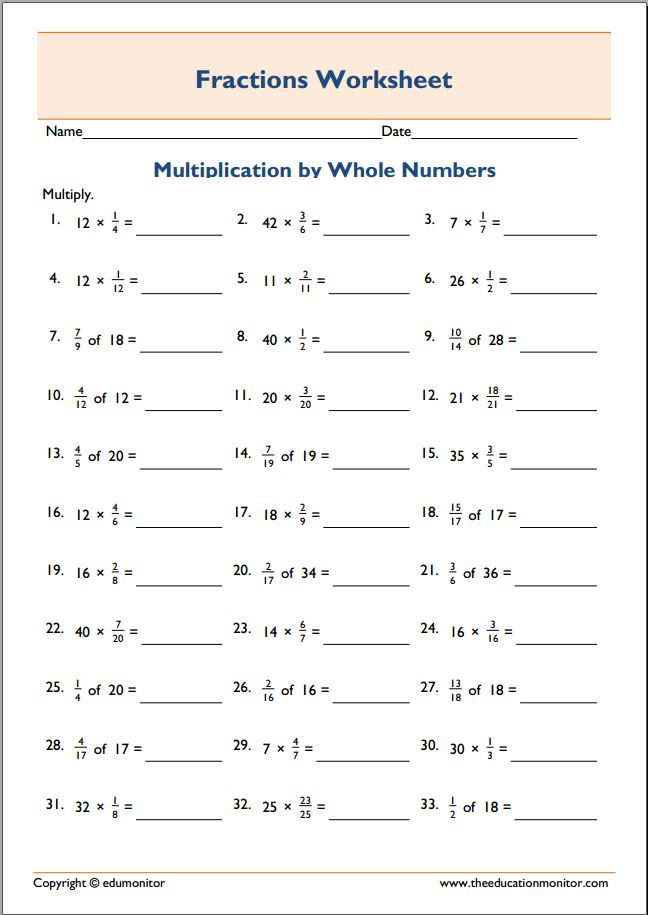 Worksheet 612792 Multiplying Whole Numbers and Fractions – Multiplying Whole Numbers Worksheets