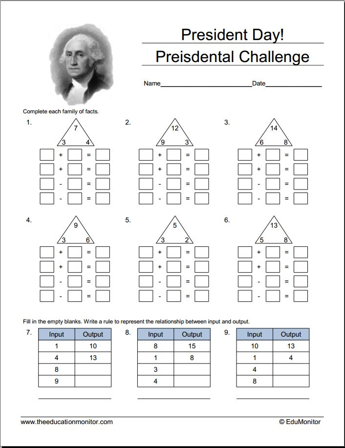 math worksheet : presidents day math worksheets and activities archives  edumonitor : Presidents Day Kindergarten Worksheets