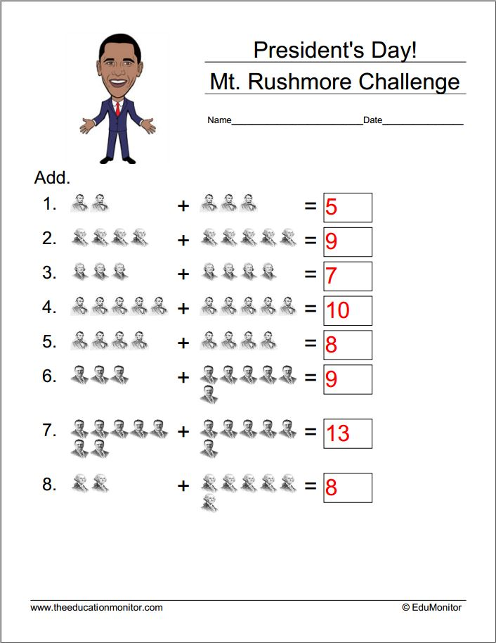 Presidents Day Math Worksheets free president s day worksheets – Free Presidents Day Worksheets