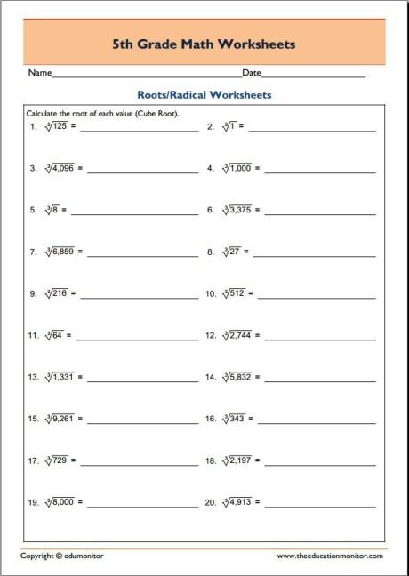 Grade 5 Printable Math Worksheets - EduMonitor