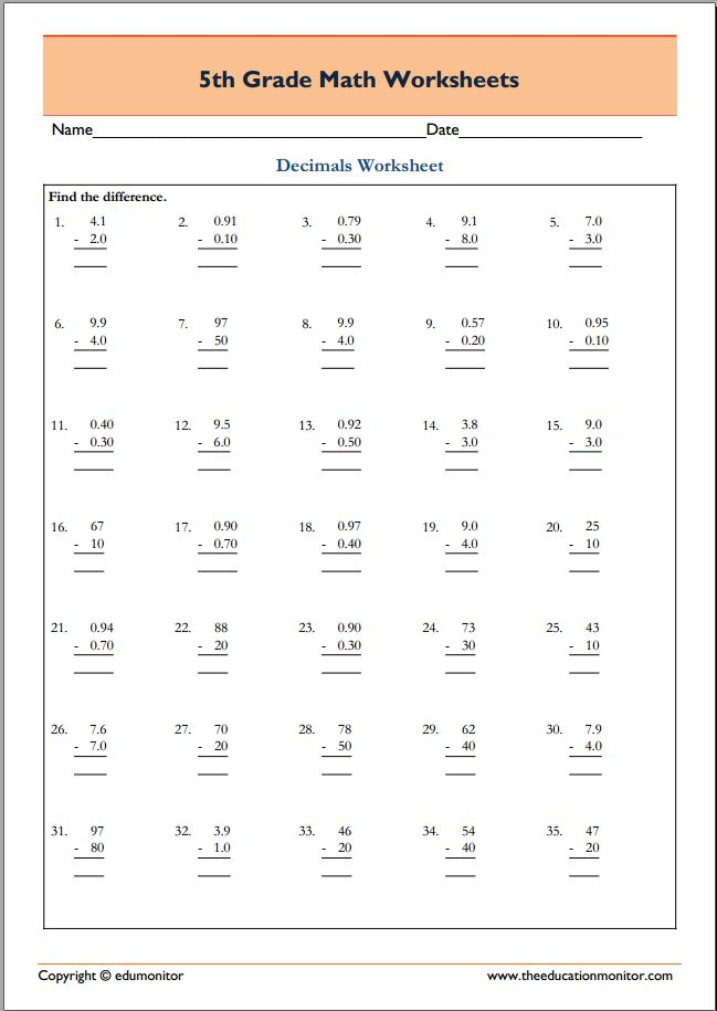 Free Printable Worksheets for 5th Grade – 5th Grade Math Worksheets Pdf