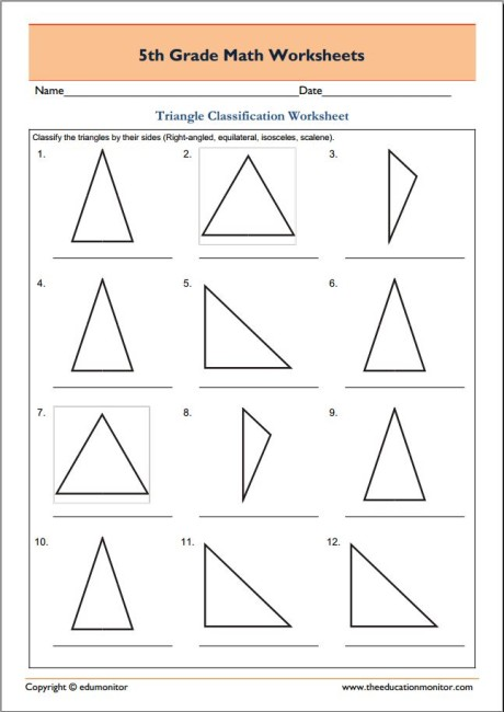 free 5th grade geometry math worksheets triangle classification edumonitor. Black Bedroom Furniture Sets. Home Design Ideas