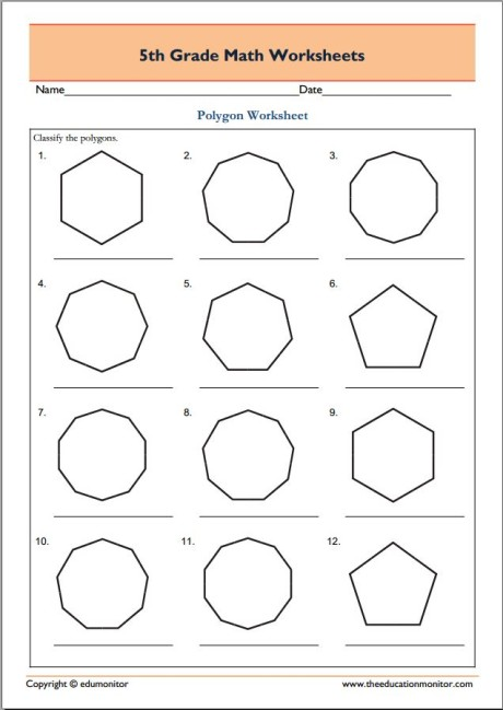 Polygons worksheet grade 8