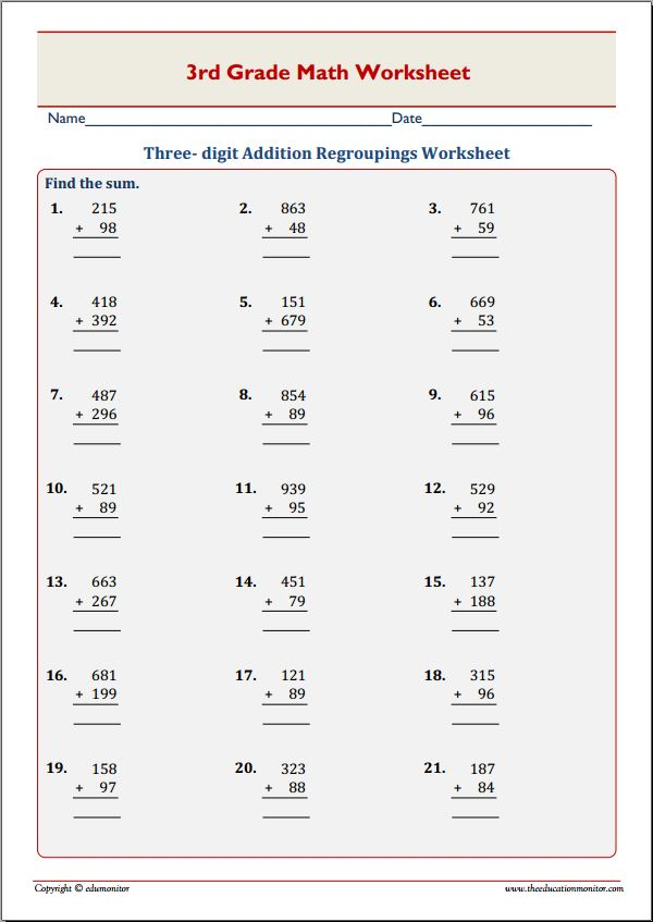 math worksheet : addition with regrouping worksheets 3rd grade  worksheets for  : Addition With Regrouping Worksheets 3rd Grade