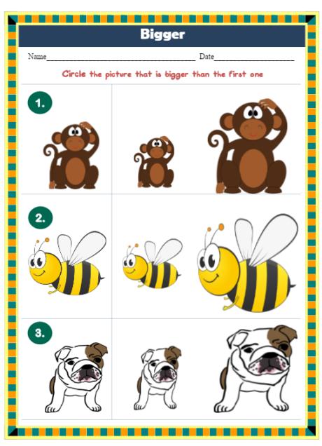 Preschool Worksheets Opposites Edumonitor
