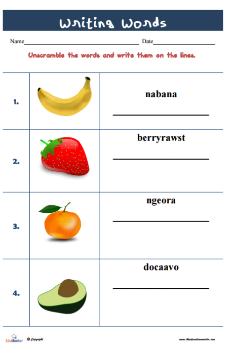 Printable Unscramble Words Worksheets Edumonitor