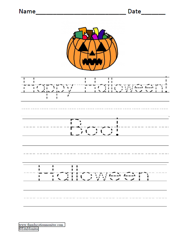 Printable Halloween Handwriting Worksheets Edumonitor