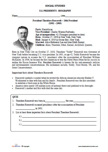 Theodore Roosevelt Worksheets Social Studies Edumonitor