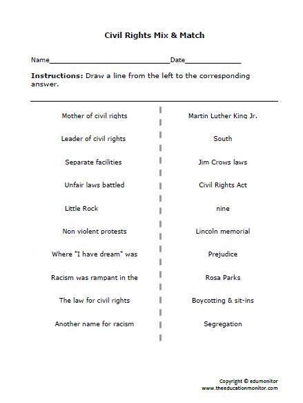 Civil Rights Worksheets & Printables
