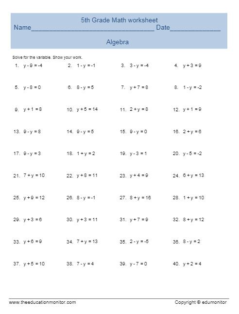 Worksheets 5th Grade Algebra Worksheets free printable worksheets for 5th grade graders algebra and printables