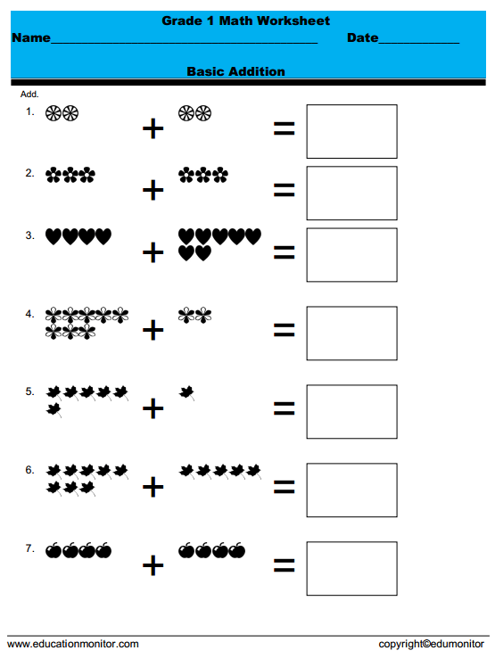 Number Names Worksheets grade 1 worksheets free printable : pictorial addition for grade 1 Archives - EduMonitor
