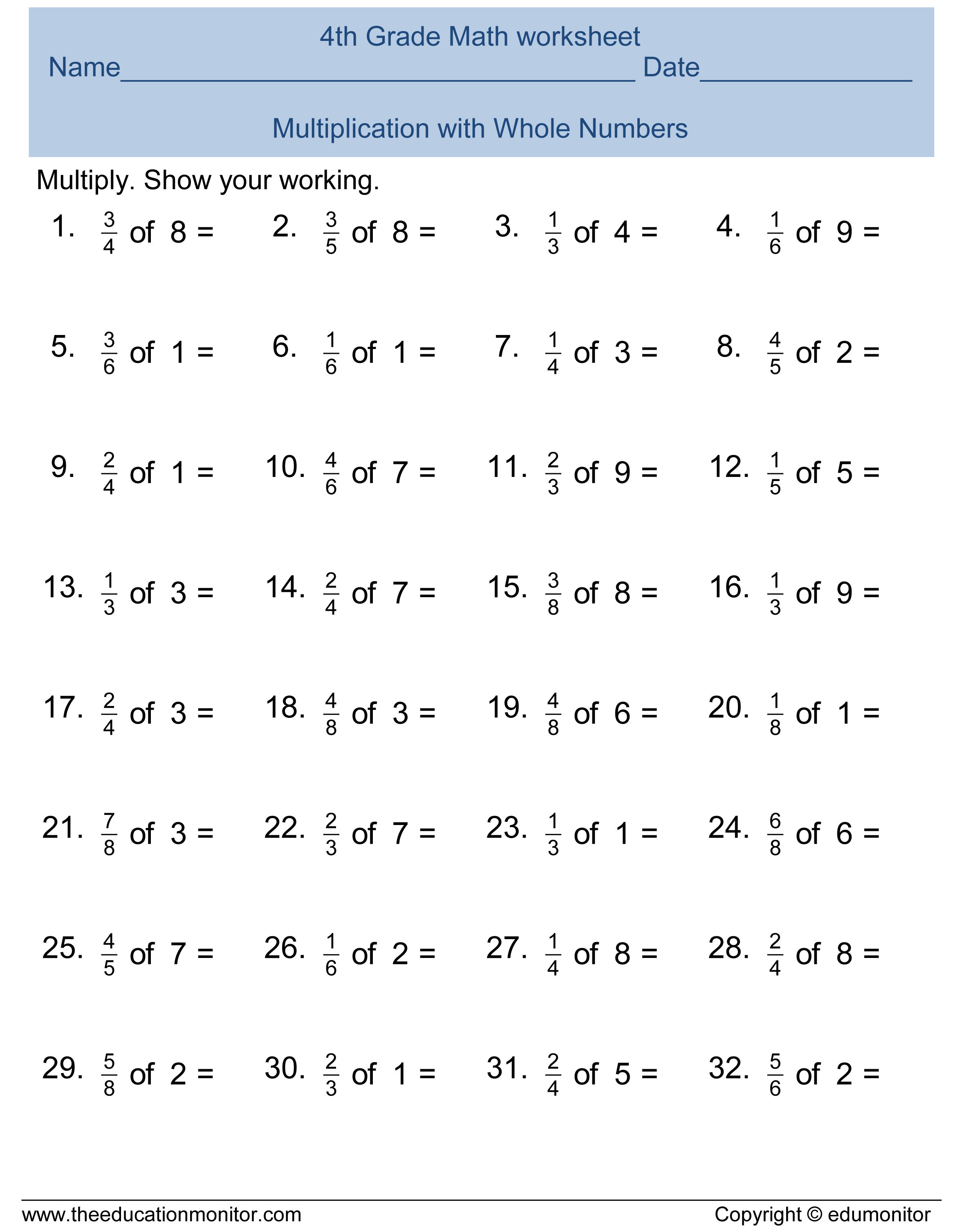 math worksheet : free printable worksheets for 4th grade : Fourth Grade Math Multiplication Worksheets