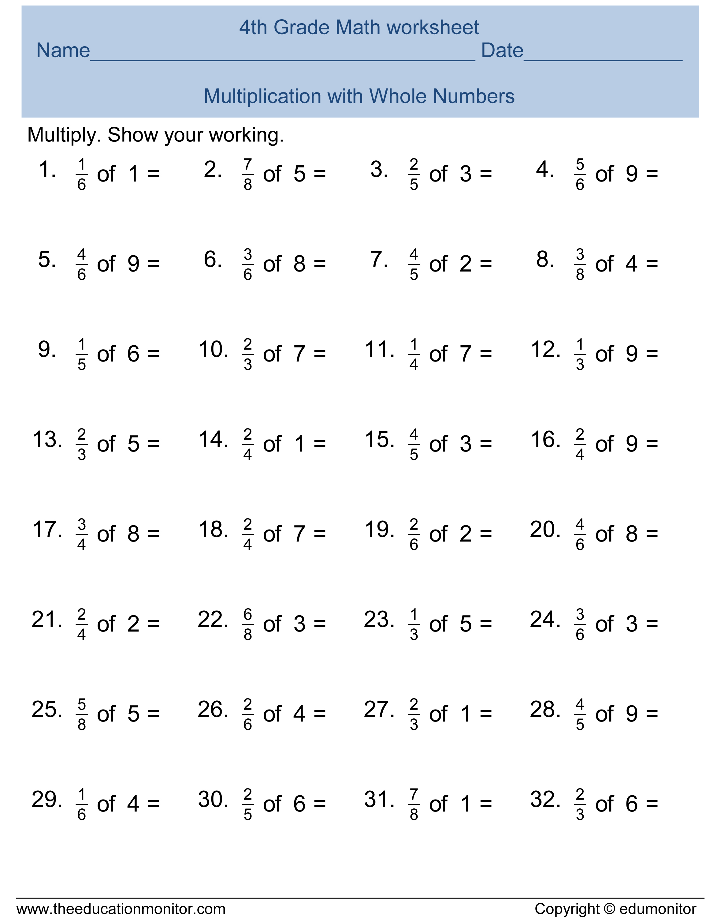 Worksheet Fractions For Fourth Grade free printable worksheets for 4th grade fourth fractions and printables