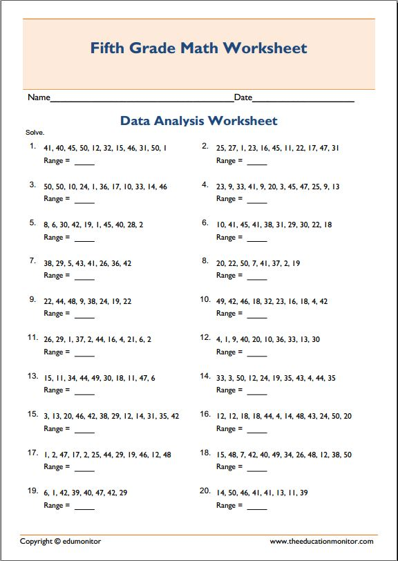 Mean Median Mode Range Printable Worksheets Worksheets For School ...