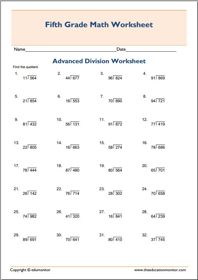 Free Printable Worksheets for 5th Grade – 5th Grade Advanced Math Worksheets