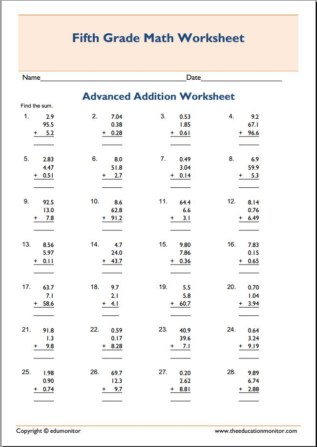 Free Printable Worksheets for 5th Grade – Advanced Addition Worksheets