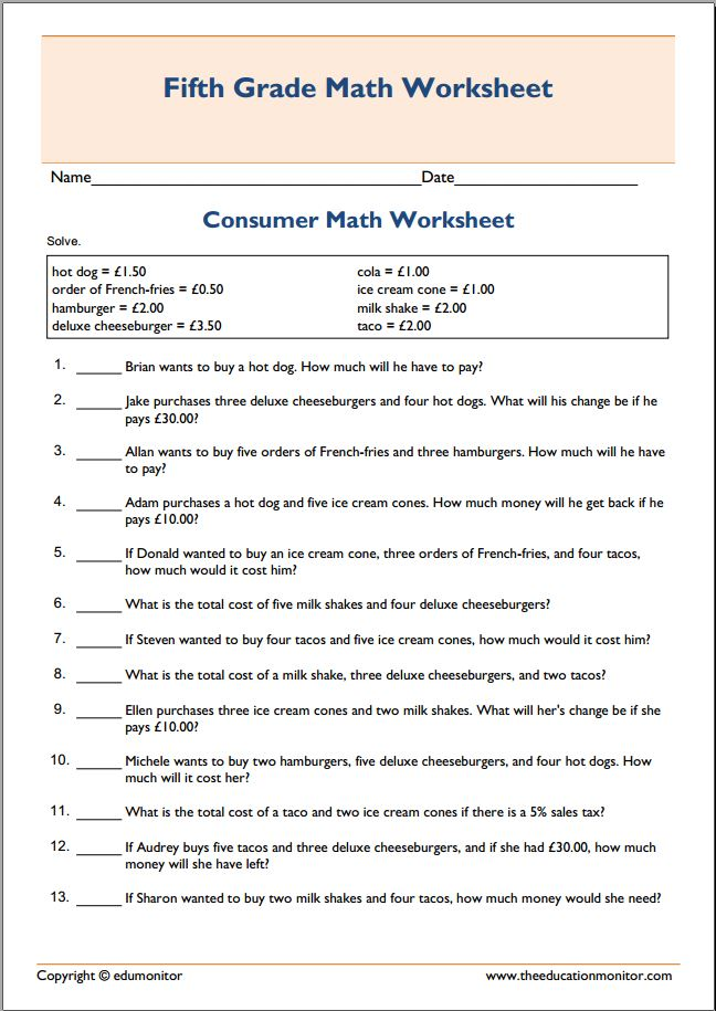 Spending money consumer math worksheet