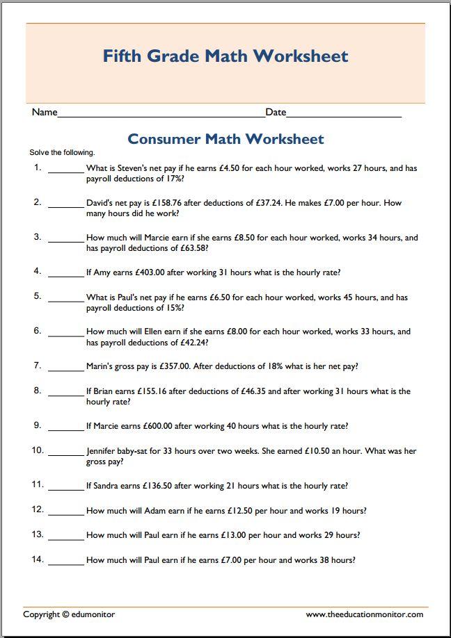 worksheets consumer math - Worksheets for Kids, Teachers & Free ...