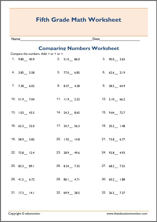 Free Printable Worksheets for 5th Grade – Comparing Decimal Worksheet