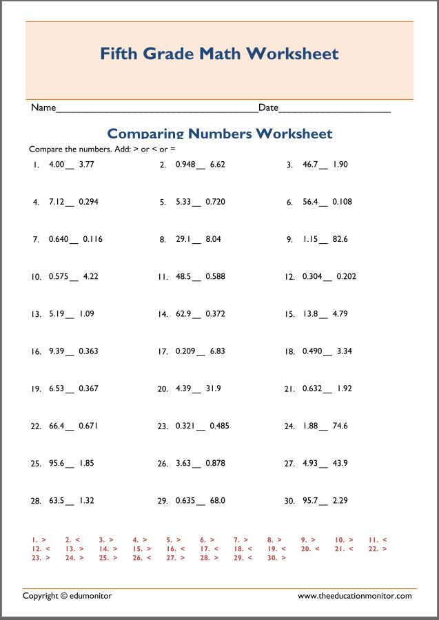 Comparing decimal worksheets for 4th grade