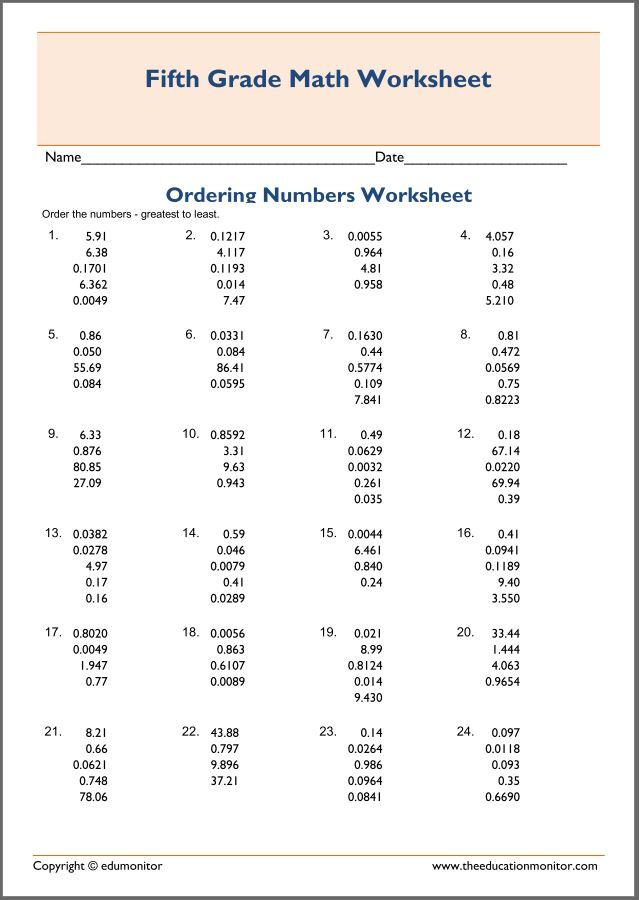 Free Printable Worksheets for 5th Grade – Ordering Decimals Worksheets