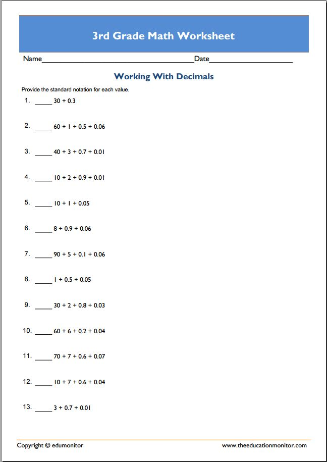Free math worksheets for grade 3 online