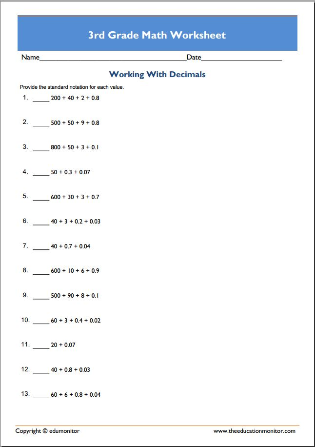 Free Printable Worksheets for 3rd Grade – Free Printable Worksheets for 3rd Grade