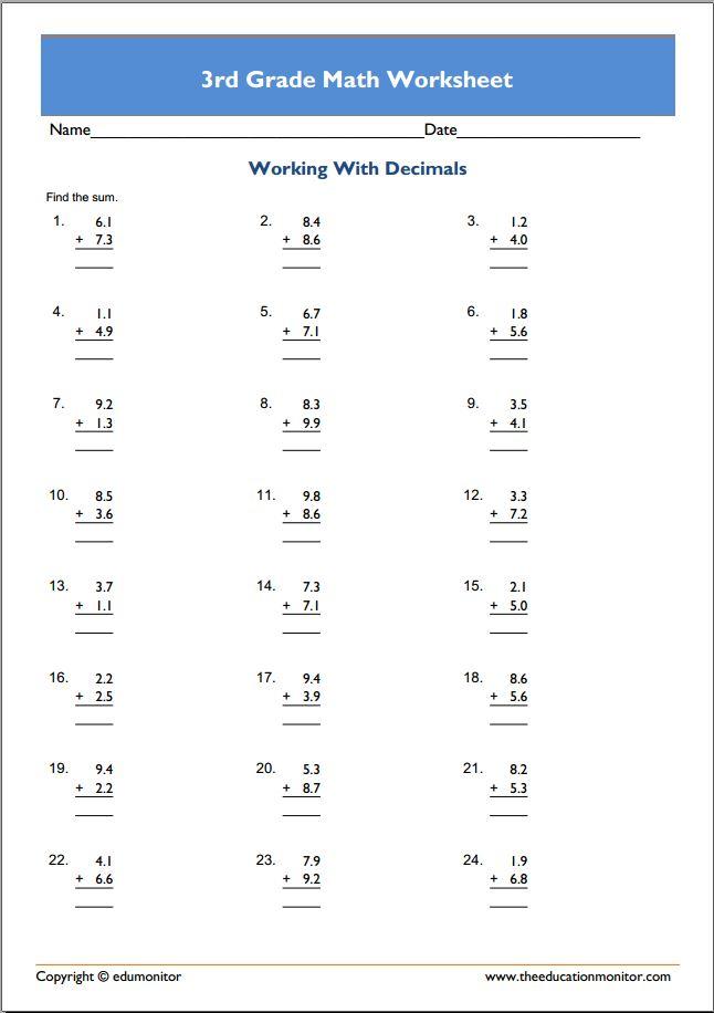 Free Printable Worksheets for 3rd Grade – Third Grade Math Worksheets Pdf