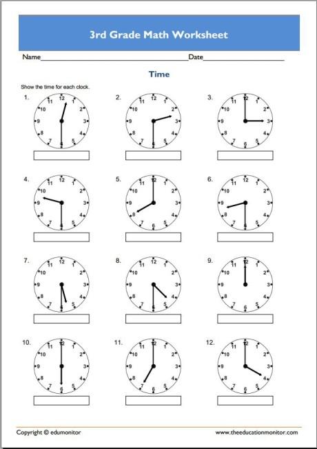 Free 3rd Grade Math Worksheets - EduMonitor