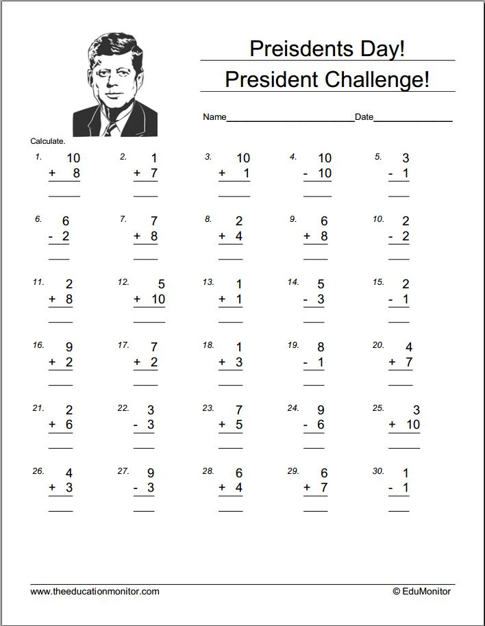 Math free Worksheets for for first grade – Free Presidents Day Worksheets